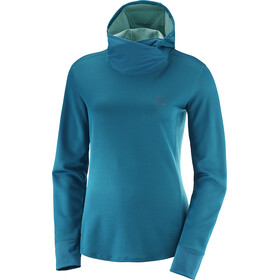 Salomon Agile LS Hoodie Women Deep Lagoon Heather